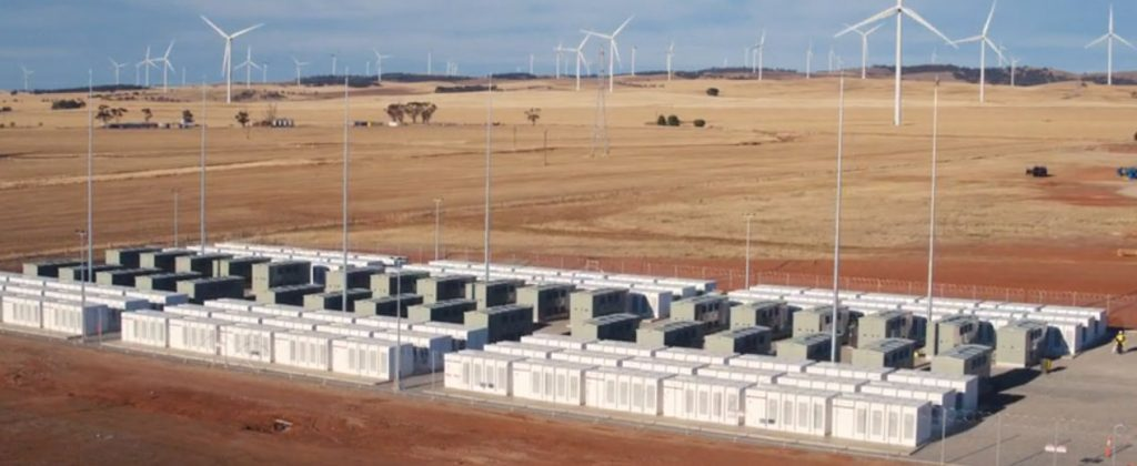 Tesla's 100 MW battery at Hornsdale wind farm, Australia.