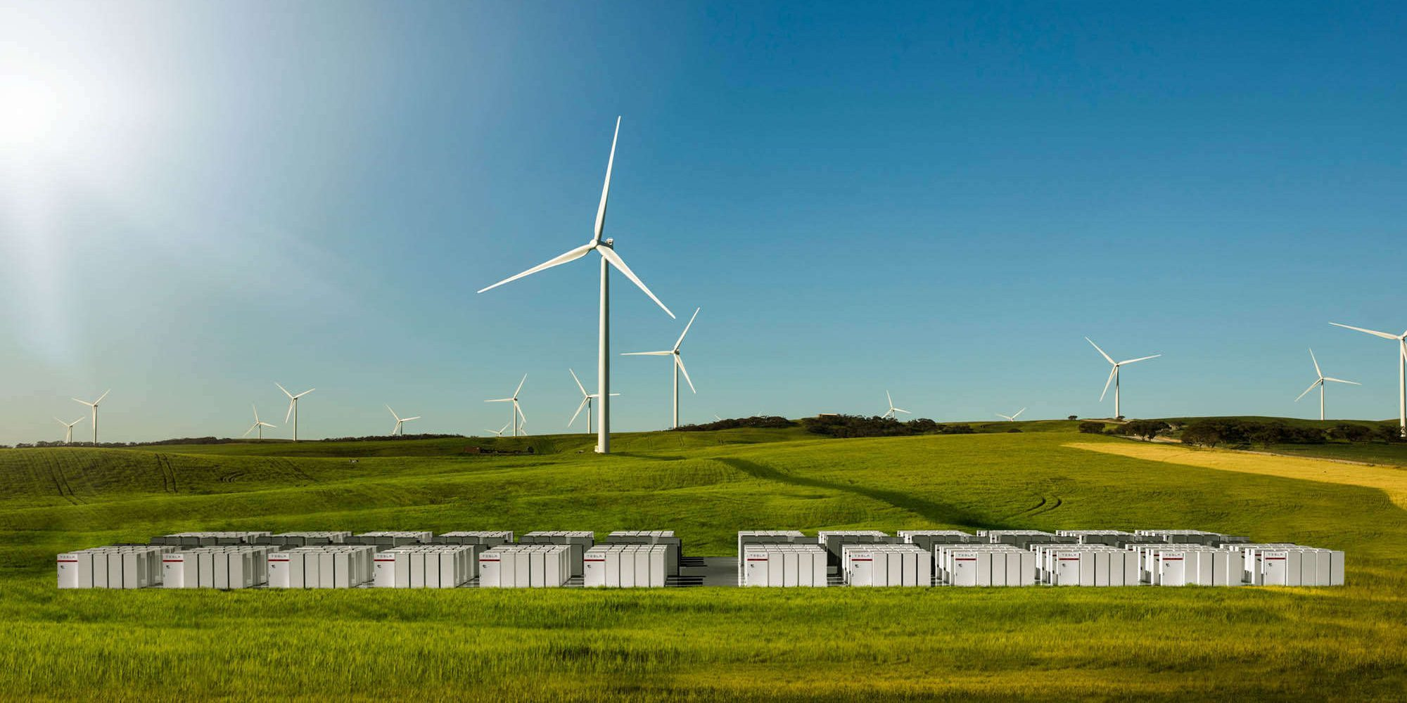 tesla battery storage australia field renewable eneryg wind turbine